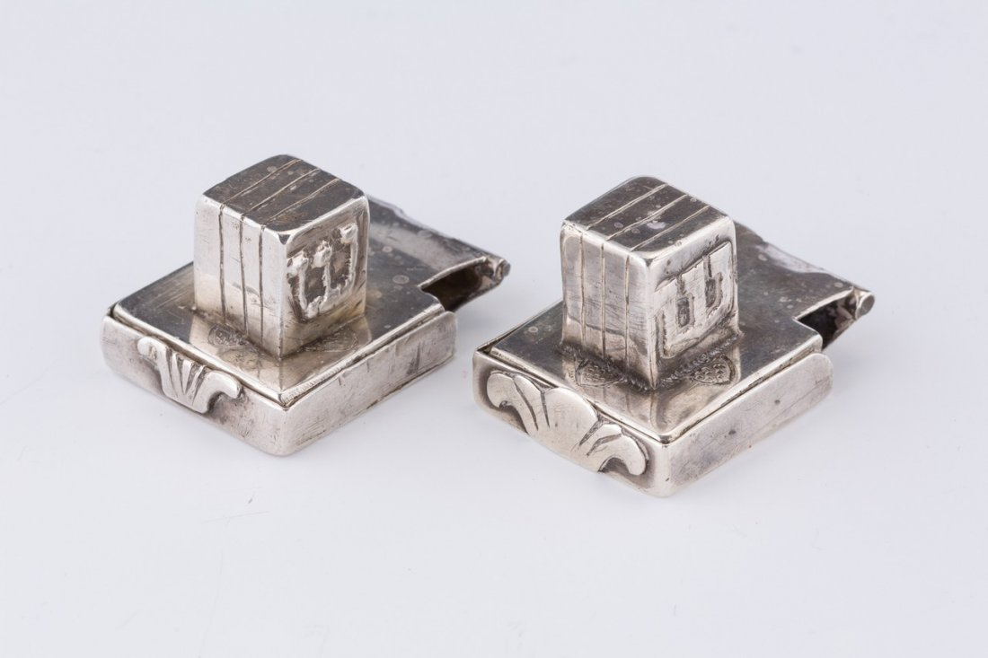 A PAIR OF SILVER MINATURE TEFILLIN. Continental, 19th