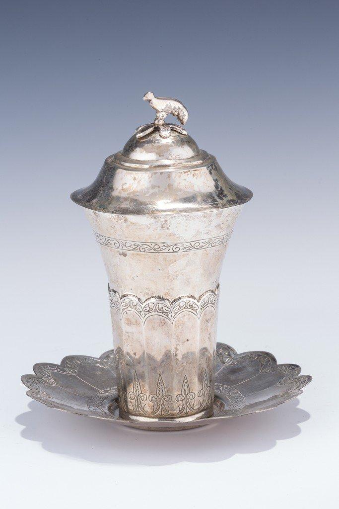 A MASSIVE SILVER KIDDUSH CUP. Iraq, c. 1900. With