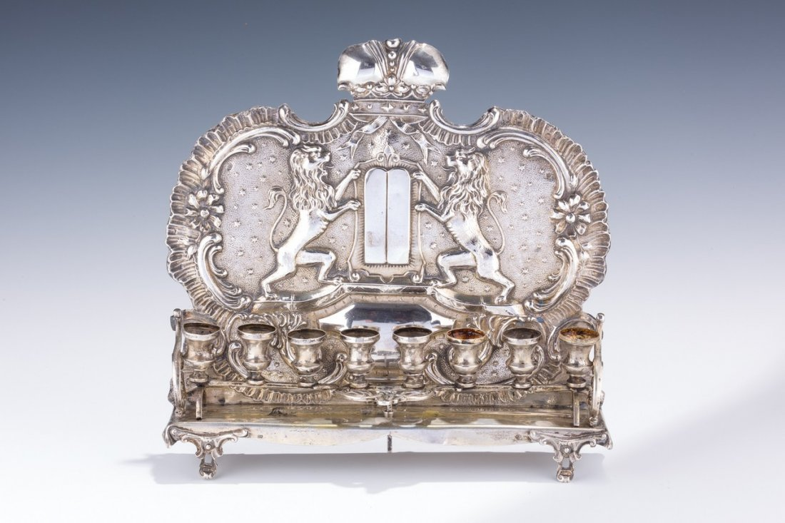 A LARGE SILVER CHANUKAH LAMP. Vienna, c. 1890. The back