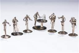 A GROUP OF SEVEN STERLING CHASSIDIC FIGURES. Israel, c.