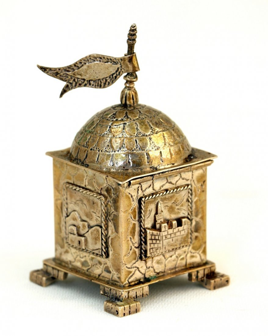 A STERLING SILVER SPICE CONTAINER. Probably Israel,