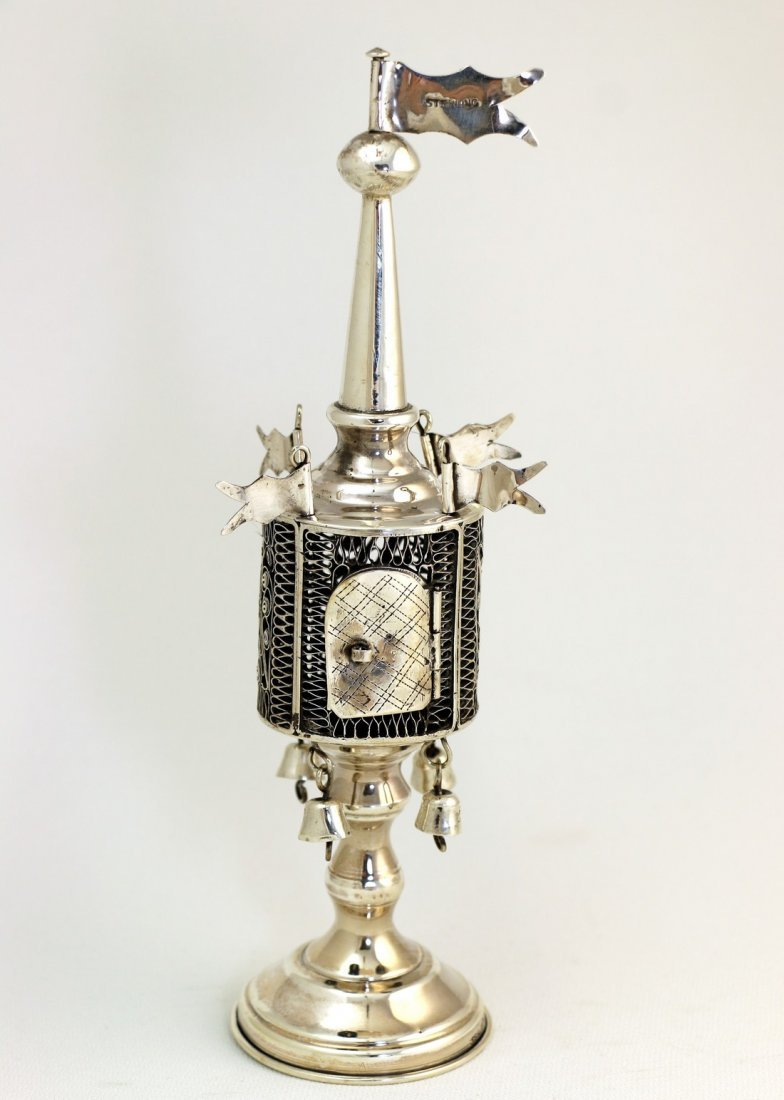 A SILVER SPICE TOWER. American, c. 1900. On round base