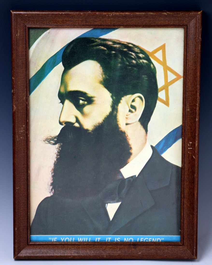 A FRAMED PRINT OF THEODOR HERZL. Probably American, c.