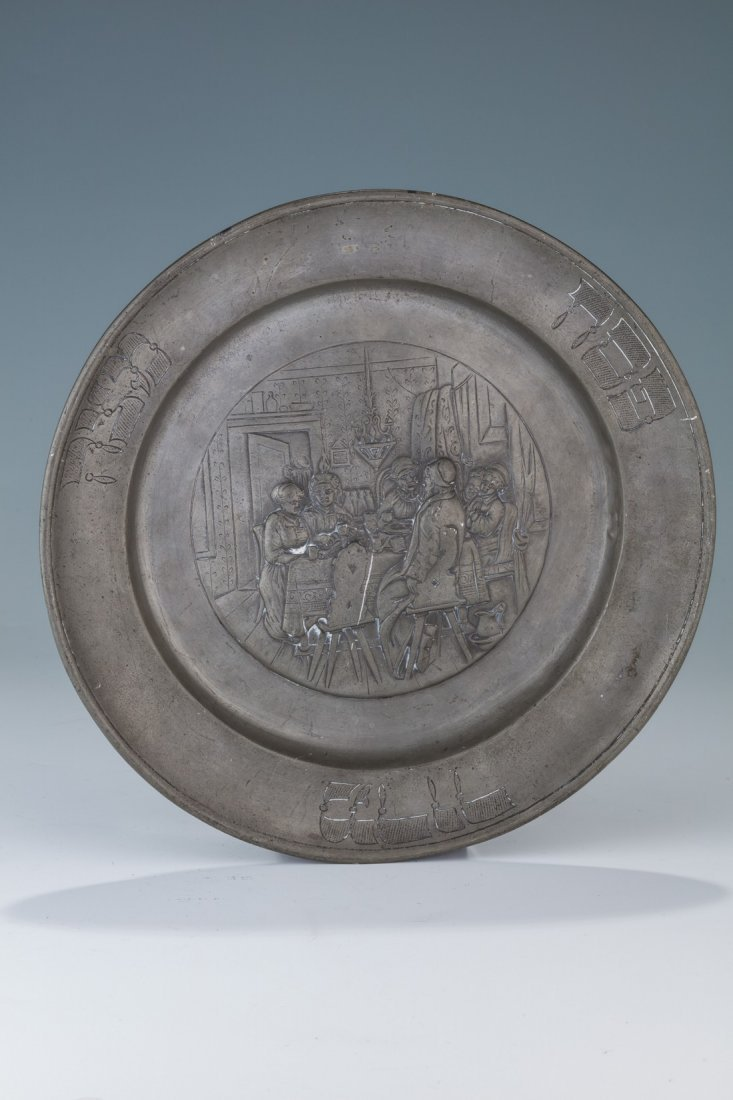 A PEWTER PASSOVER DISH. Germany, 19th century. Embossed