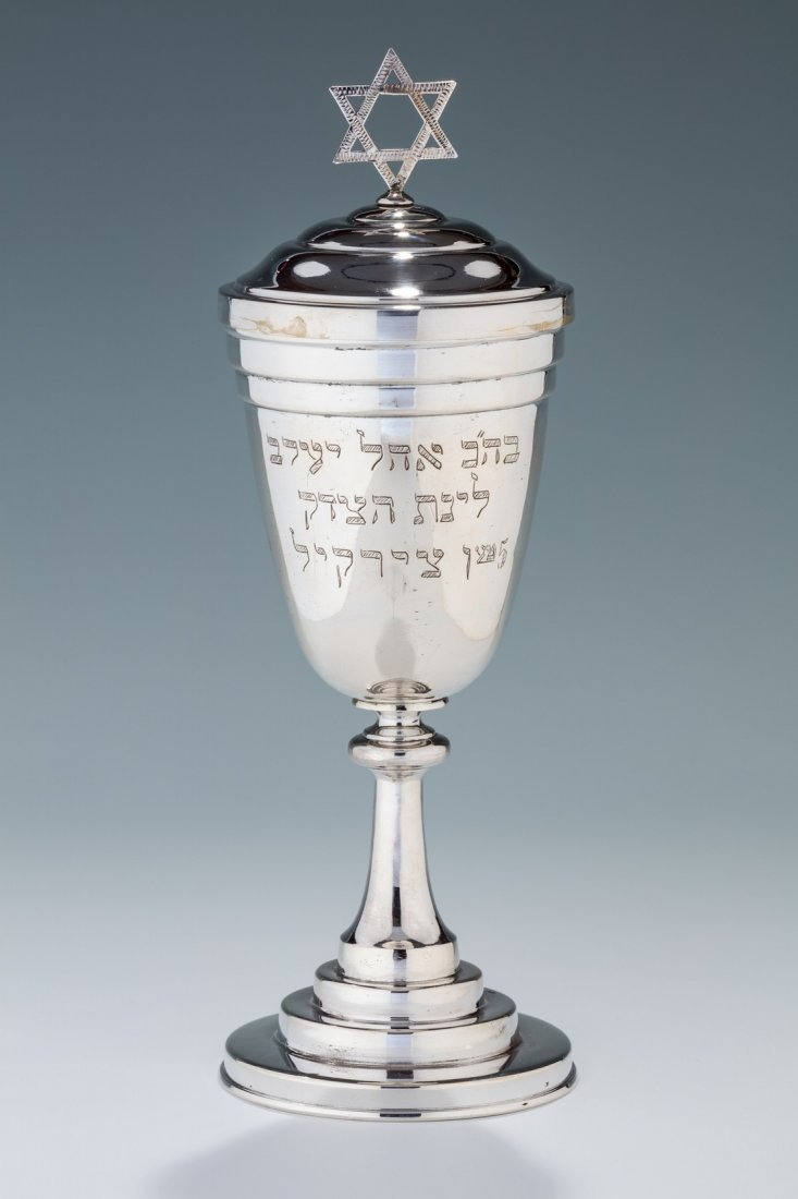 A LARGE SILVER COVERED GOBLET. Poland, early 20th