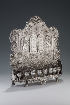A Large Silver Chanukah Lamp. Algeria, Early 20th