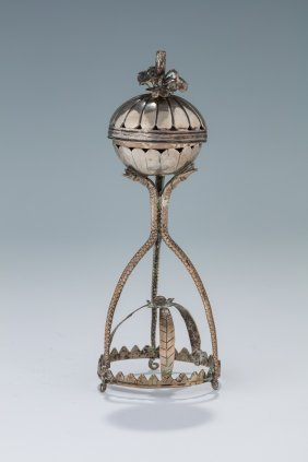 A Silver Spice Container. Poland, C. 1800. Spherical In