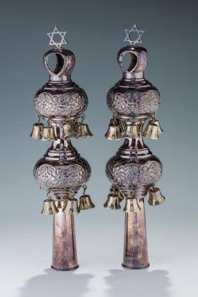 A Pair Of Silver Torah Finials. London, 20th Century.