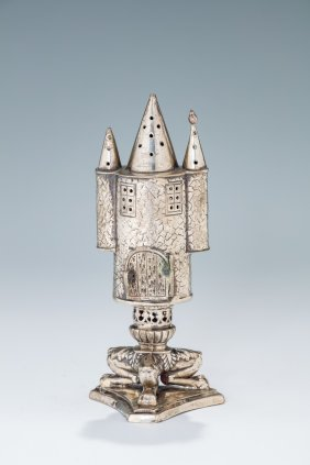 A Silver Spice Tower. Germany, C. 1880. On Triangular