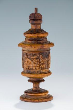 An Olivewood Spice Tower. Jerusalem, C. 1900. Engraved