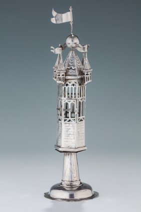 An Early Silver Spice Tower. Germany, 19th Century. On