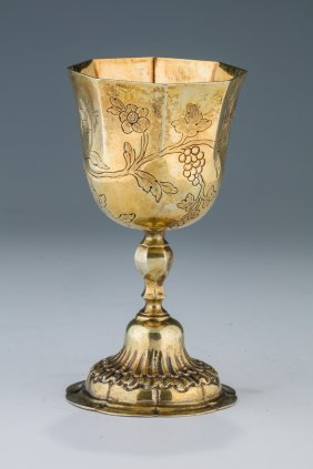 A Large Gilded Kiddush Cup By Johann Jacob Runecke (j.