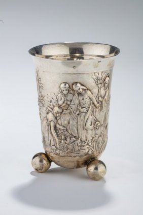 A Large Silver Kiddush Cup. Germany, 19th Century.