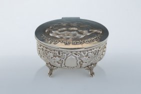 A Silver Etrog Container. Italy, 20th Century.
