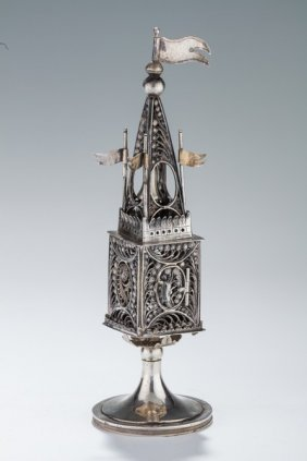 A Silver Spice Tower. Bohemian, Early 19th Century.