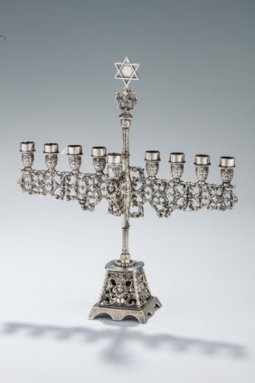 A Silver Chanukah Menorah. Dutch, Early 20th Century.
