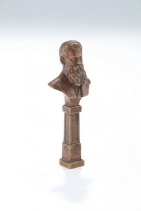 A Bronze Bust Seal Of Theodor Herzl. Vienna, C. 1910.