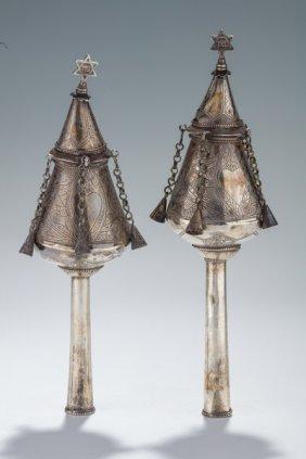 A Pair Of Silver Torah Finials. Iraq, 19th Century. On