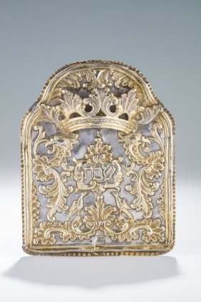 A Parcel Gilt Silver Torah Shield. Probably Ukraine, C.