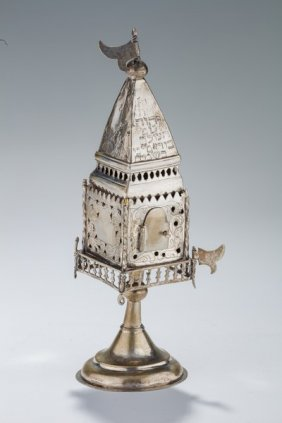 An Early Silver Spice Tower. Poland, 18th Century. On