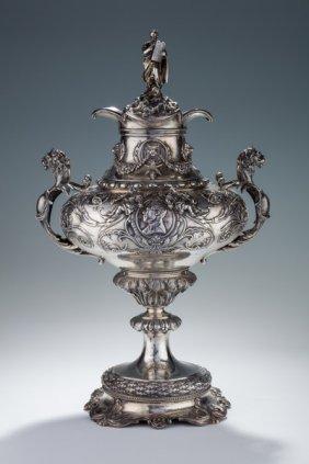 A Monumental Silver Presentation Urn To Rabbi Loeb In