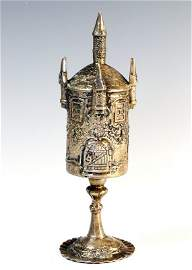 A SILVER SPICE TOWER. Germany, c. 1900. On crimped base