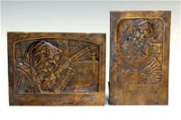 TWO BRONZE PLAQUES BY BORIS SCHATZ. Palestine, c. 1910.
