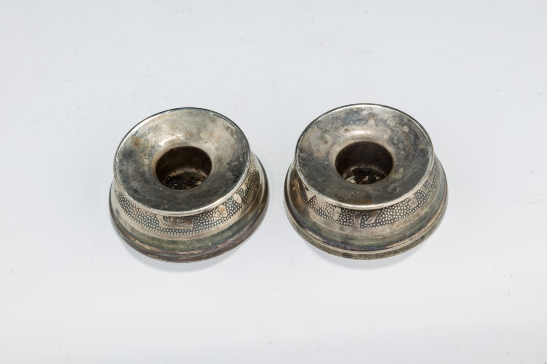 A PAIR OF TRAVELLING SABBATH CANDLE HOLDERS.