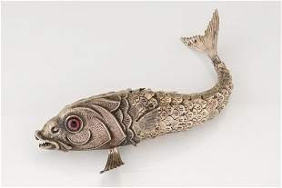 A SILVER FISH SHAPED SPICE CONTAINER. Dutch, c. 1880.