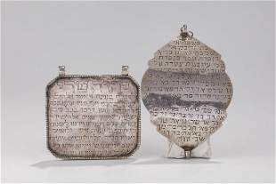 TWO SILVER AMULETS. Middle East, c. 1900. Each engraved