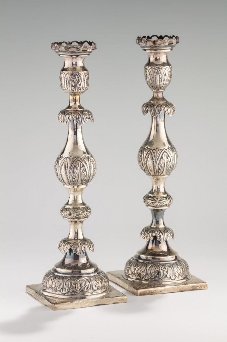 A PAIR OF LARGE SILVER SABBATH CANDLESTICKS BY ISAAC