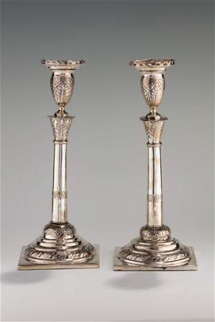 A PAIR OF LARGE SILVER CANDLESTICKS. Poland, c. 1850.