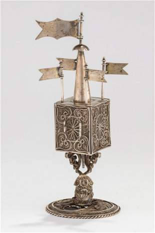 A SILVER SPICE TOWER. Poland, 19th century. On round