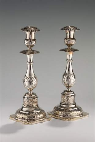 A PAIR OF LARGE SILVER CANDLESTICKS. Russian, c. 1860.