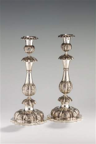 A MASSIVE PAIR OF SILVER CANDLESTICKS. Russian, c.