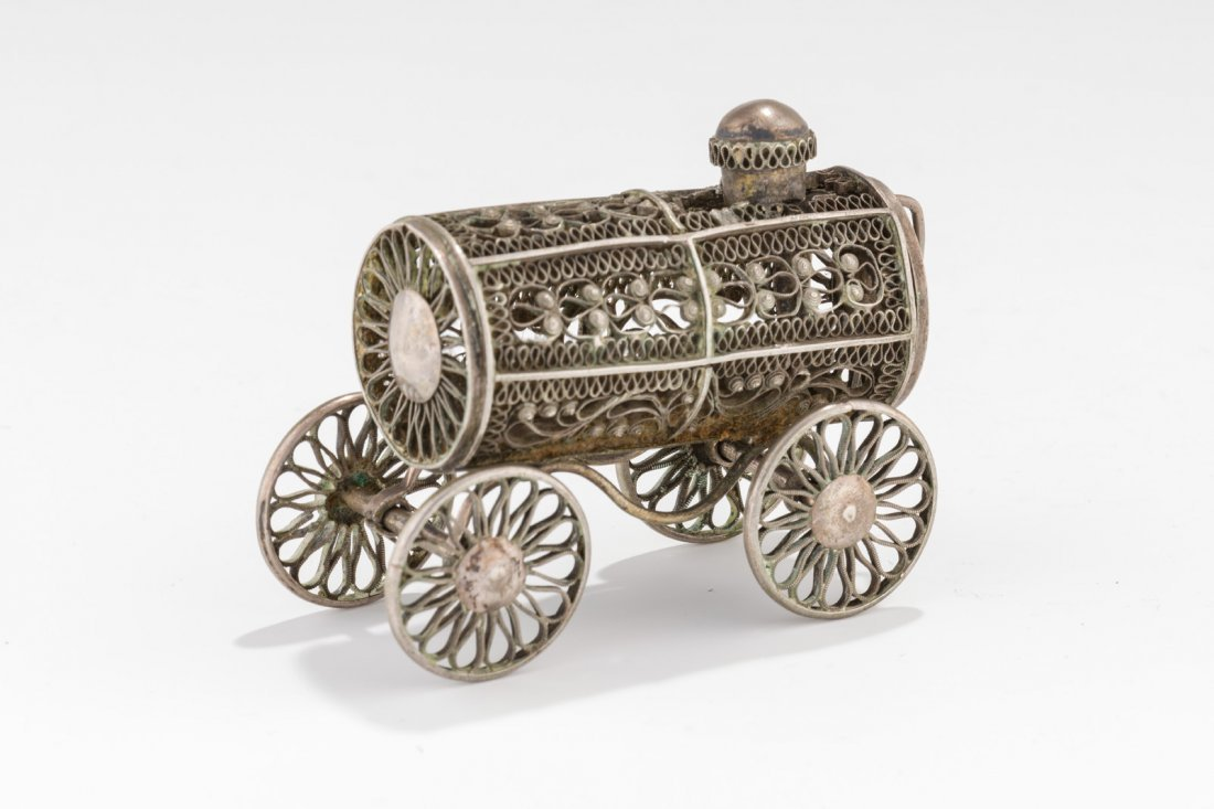 A SILVER SPICE CONTAINER. Poland, c. 1860. In the shape