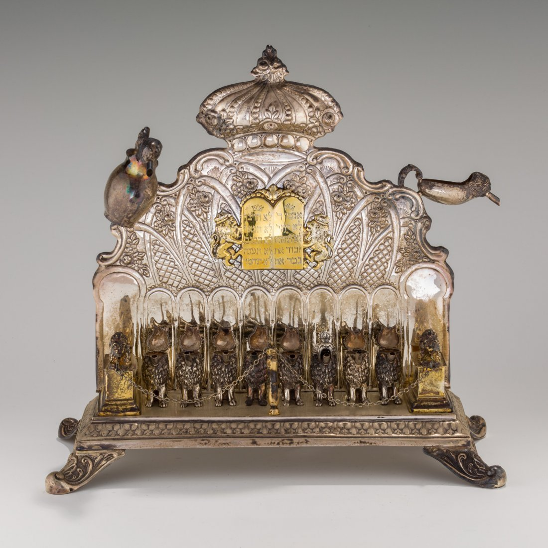 A LARGE SILVER CHANUKAH LAMP. American, 20th century