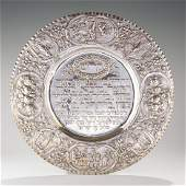 A SILVER SEDER TRAY. Germany, c. 1900. Chased with