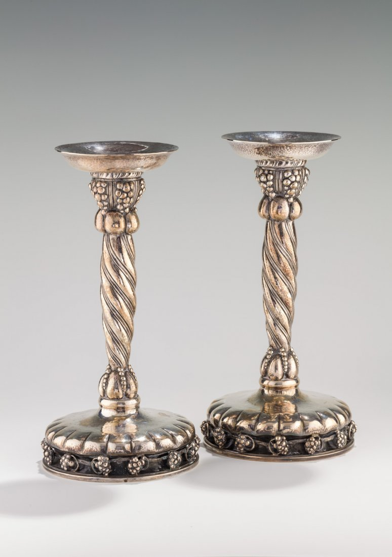 A PAIR OF SILVER SABBATH CANDLESTICKS. Portugal, 20th