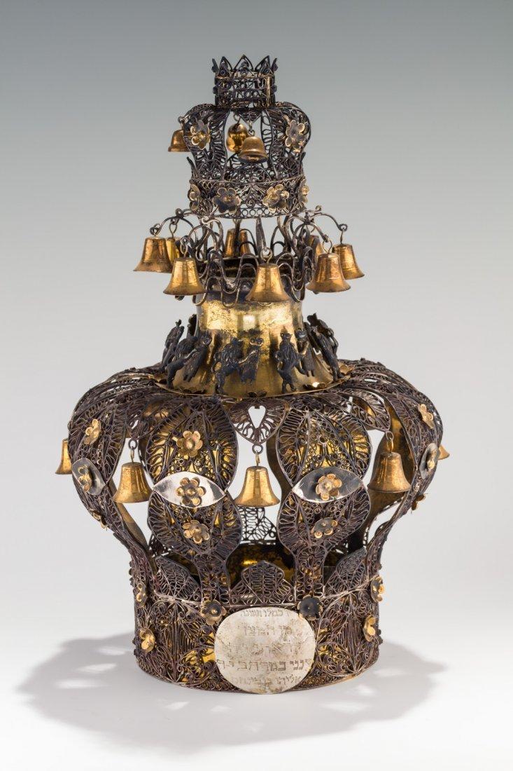 A LARGE SILVER TORAH CROWN BY HERSHEL PIKKAR. Crown