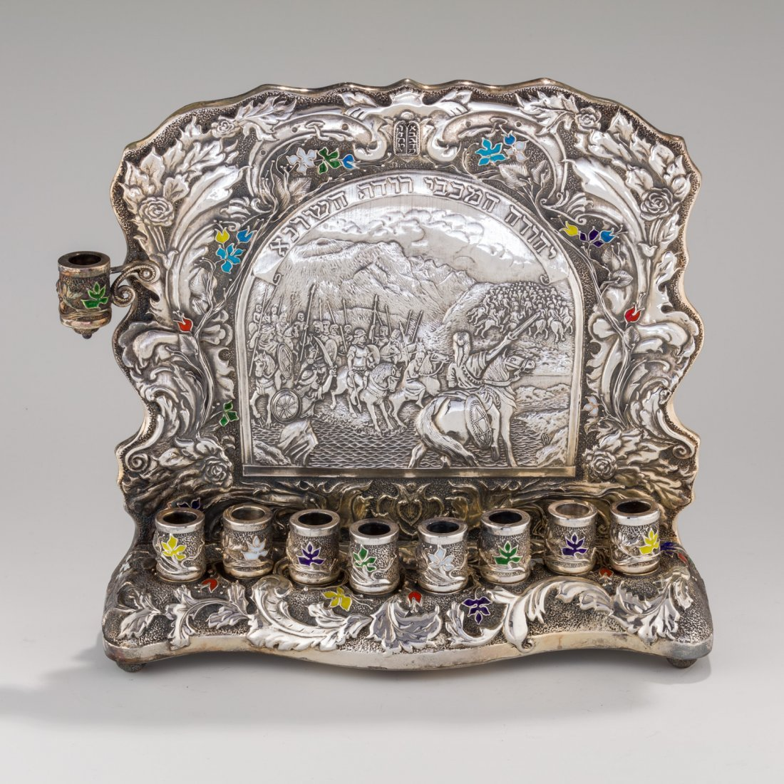 A SILVER AND ENAMEL CHANUKAH LAMP BY HENRYK WINOGRAD.