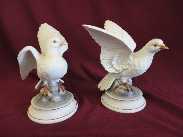 """1001: Statuary, Porcelain, Doves, Pair, """"White Dove"""" by"""