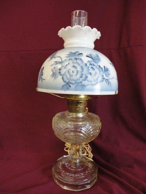 1002: Lamp, Kerosene Type, Blue and White Painted Shade