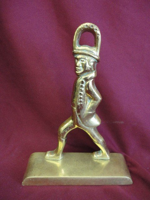 """1006: Door Stop, Brass, Colonial Man, 8 3/4""""H x 6 1/4""""W"""