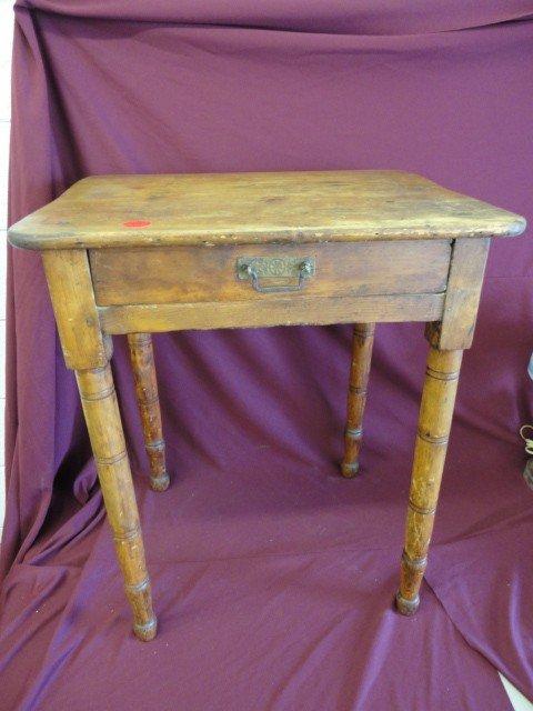 "1011: Table, Turned Leg, Single Drawer, 28 1/2""H x 24""W"