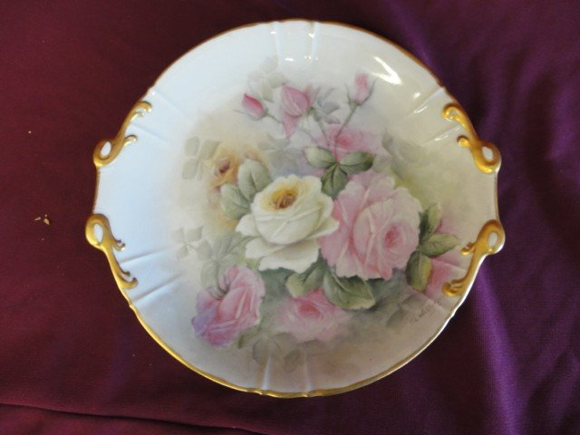 1012: Plate, Gold Rim, Rose Decoration, Made In Czechos