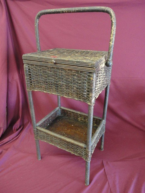 """1015: Wicker Table, Victorian, Brown Finish, 27""""H x 14"""""""
