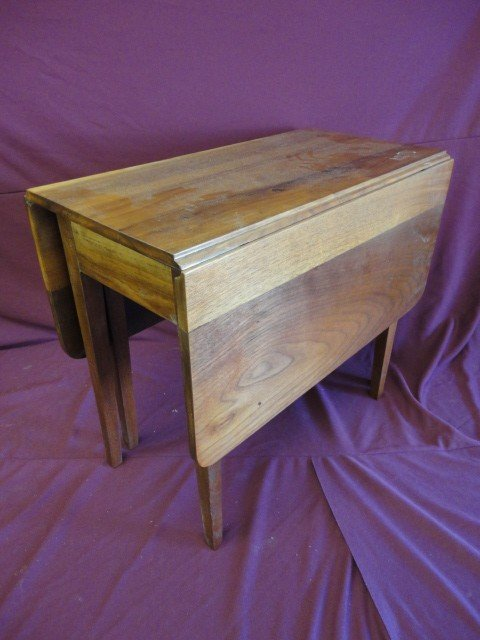 """1016: Side Table, Drop Leaf, Tapered Legs, 18 1/2""""H x 1"""