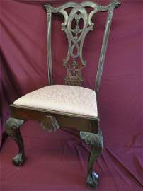 1043: Chair, Chippendale, Claw Feet, Late 19th Century,