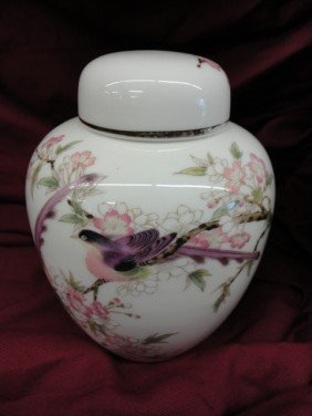 Ginger Jar, Depicting Cherry Blossoms And Birds,